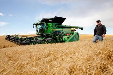 X9 combine in wheat field