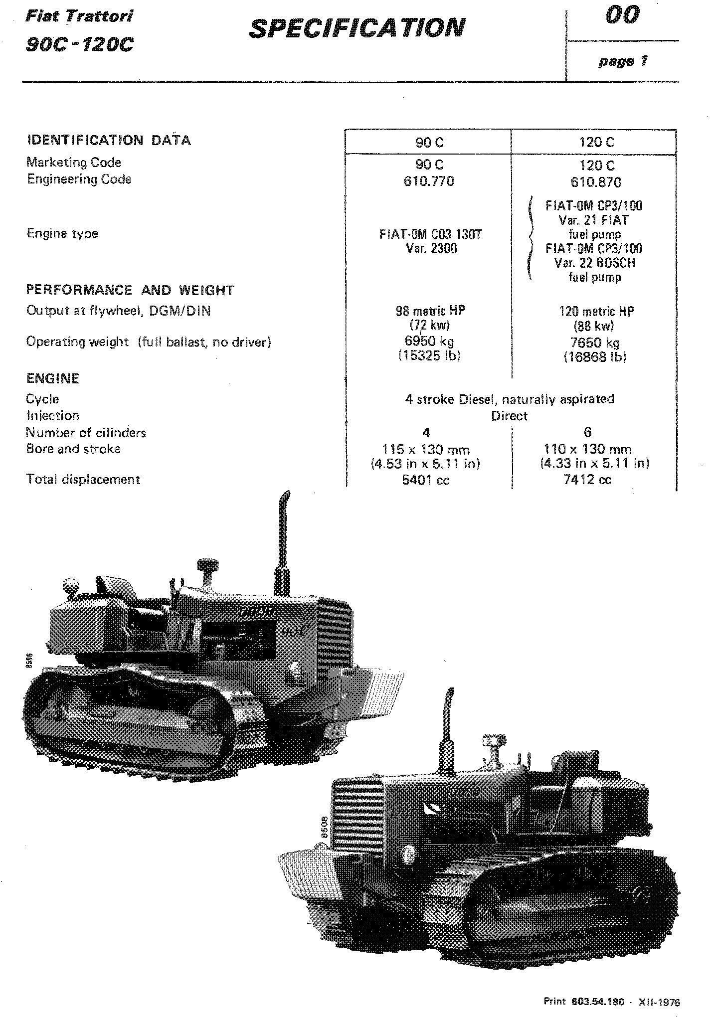 Fiat 90C, 120C Crawler Tractor Service Manual (6035418000