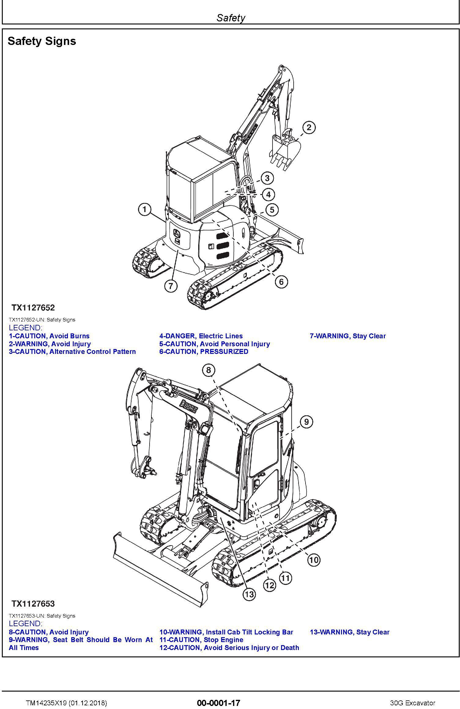 John Deere 30G (SN.from K265001) Excavator Service Repair