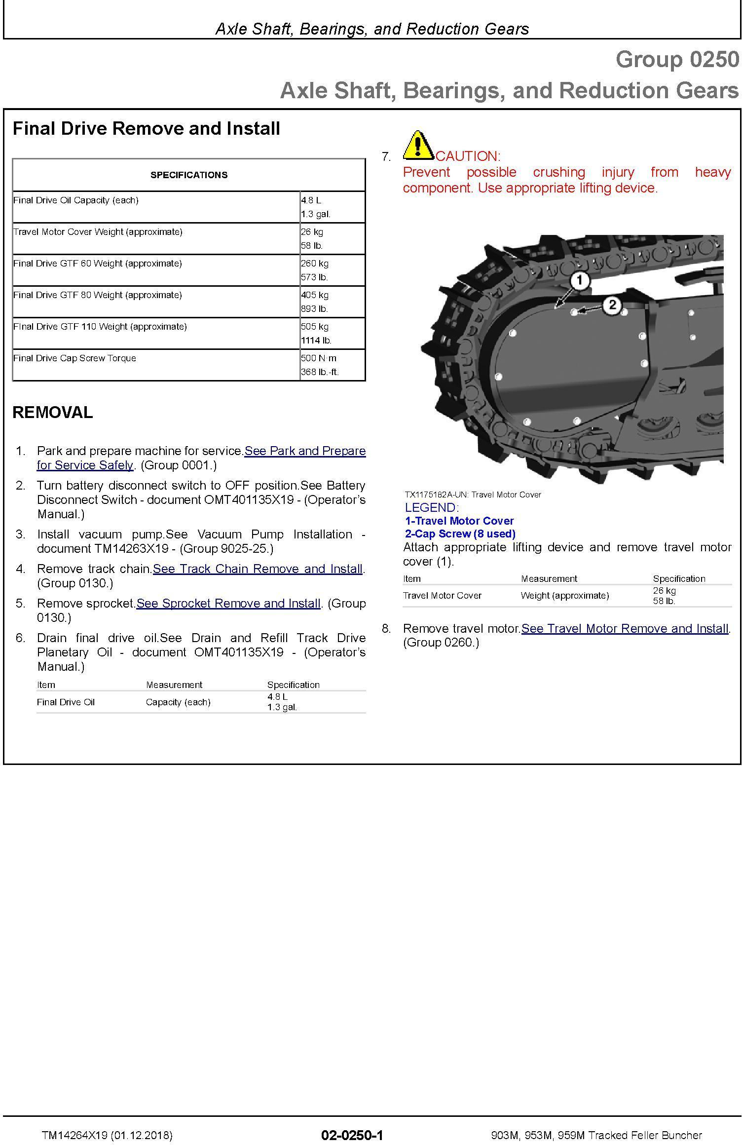 John Deere 903M, 953M, 959M (SN.C317982-,D317982-) Tracked