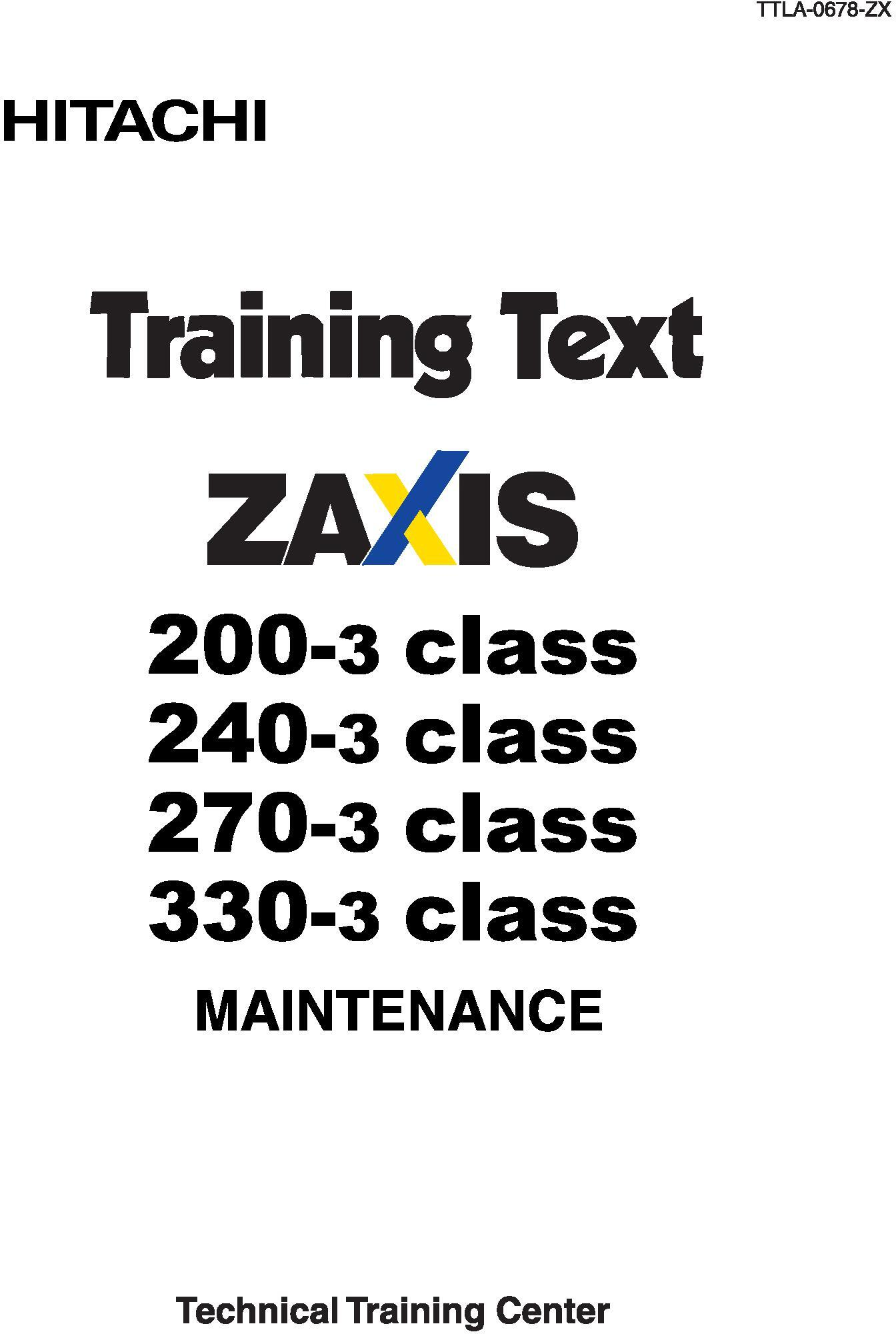 Hitachi Zaxis 200-3, 210-3, 225-3, 240-3, 250-3, 270-3
