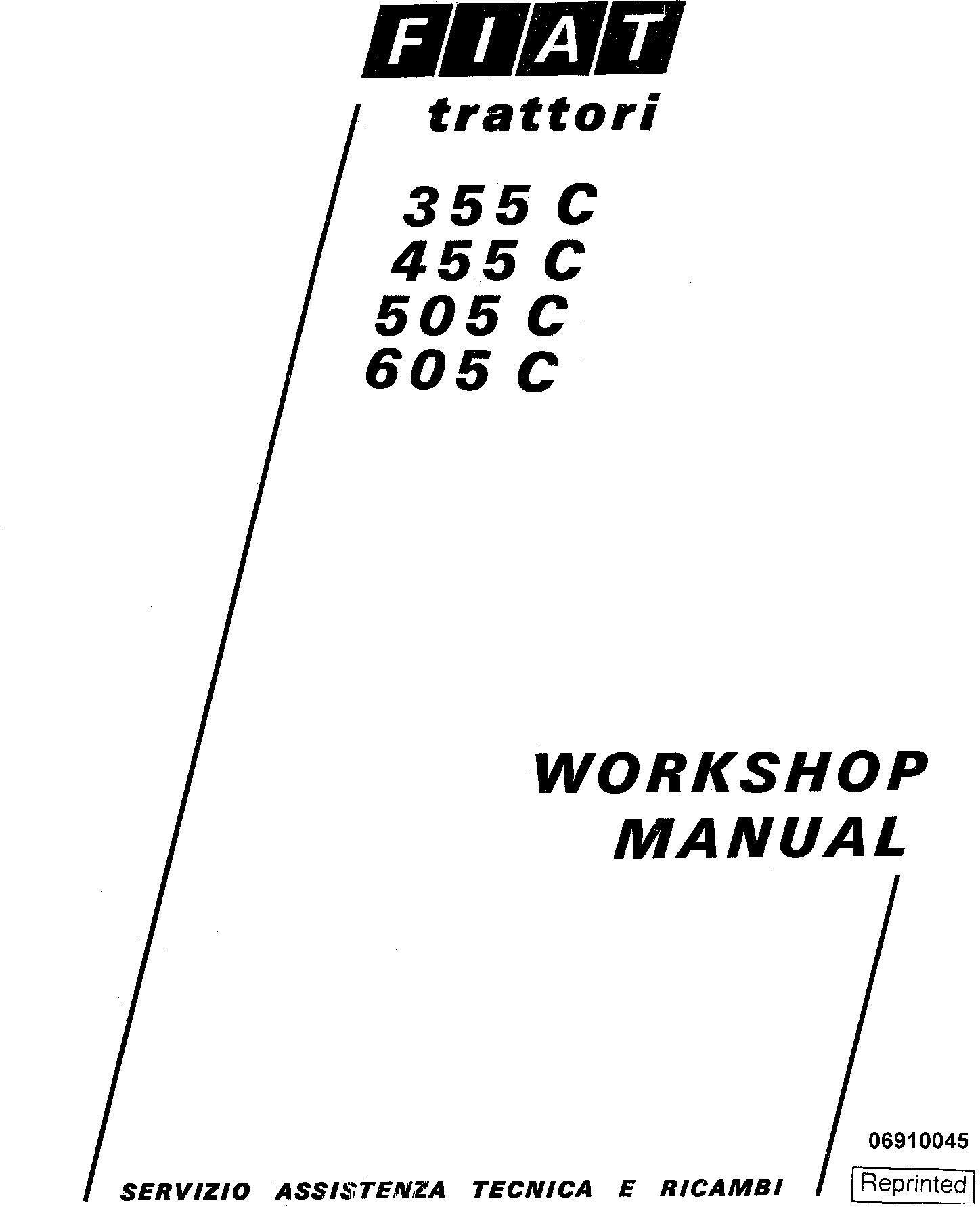 Fiat 355C, 455C, 505C, 605C Crawler Tractor Workshop