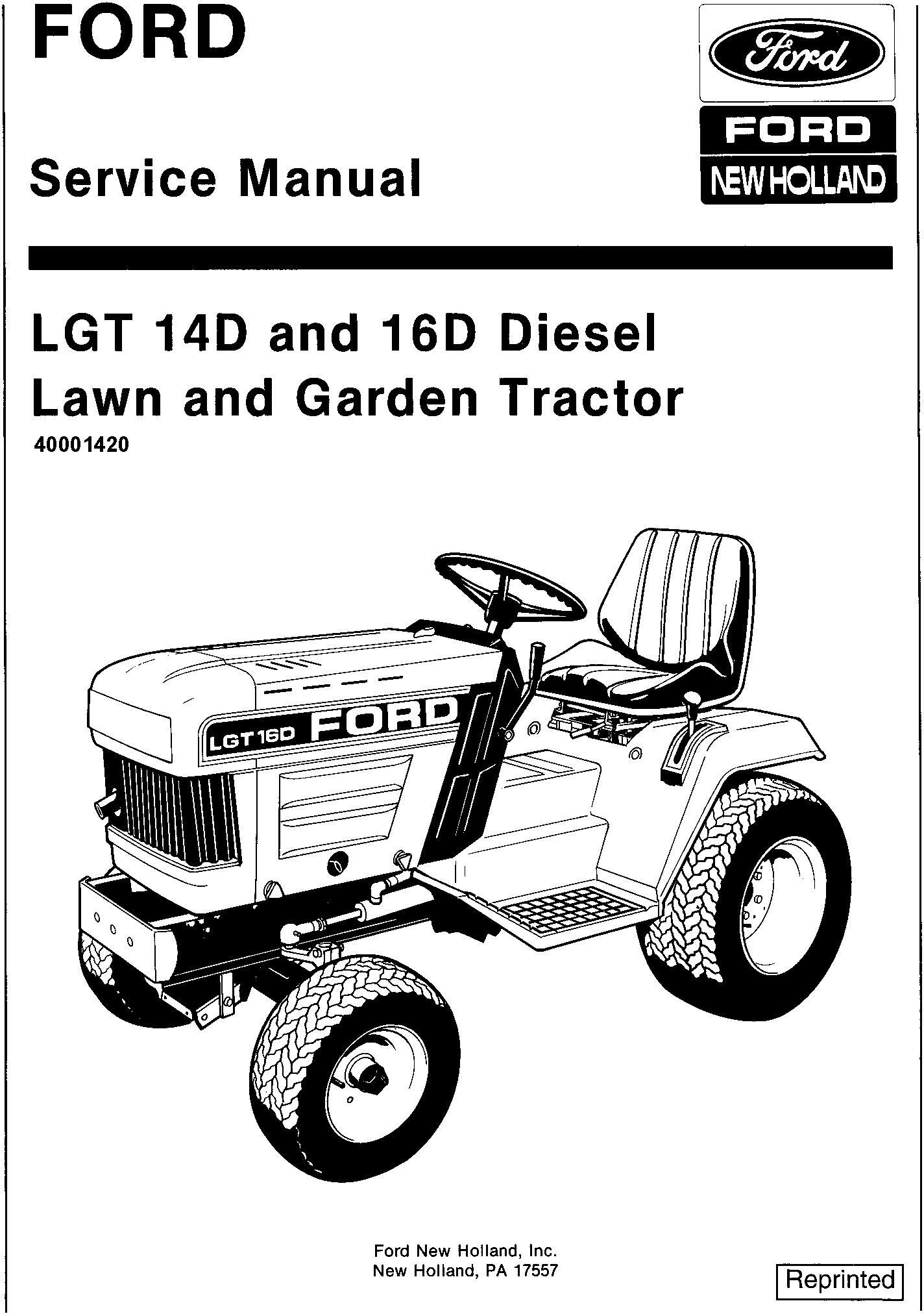 Ford Lgt14d Lgt16dsel Lawn And Garden Tractor With