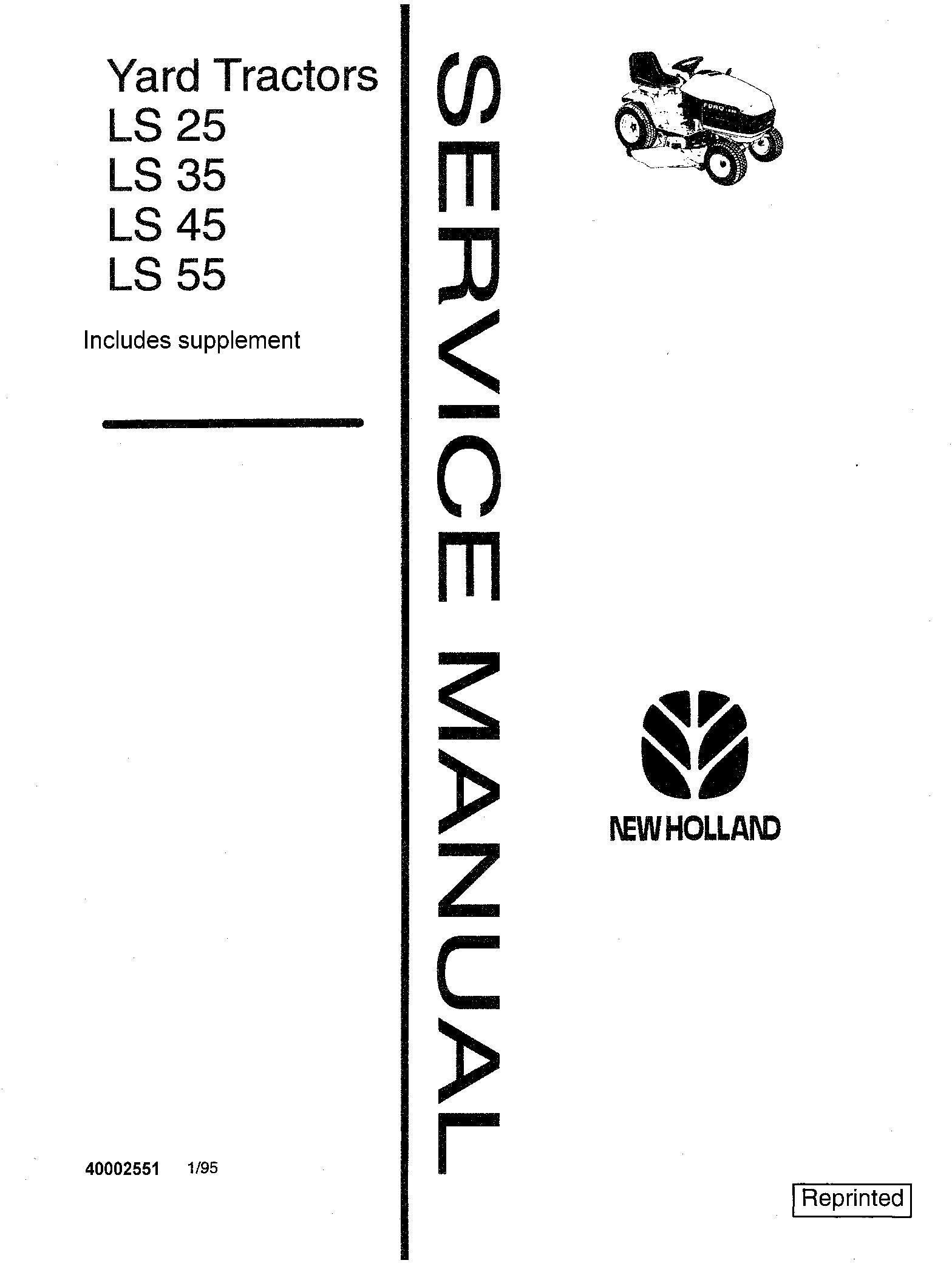 New Holland LS25, LS35, LS45, LS55 Yard Tractor Service