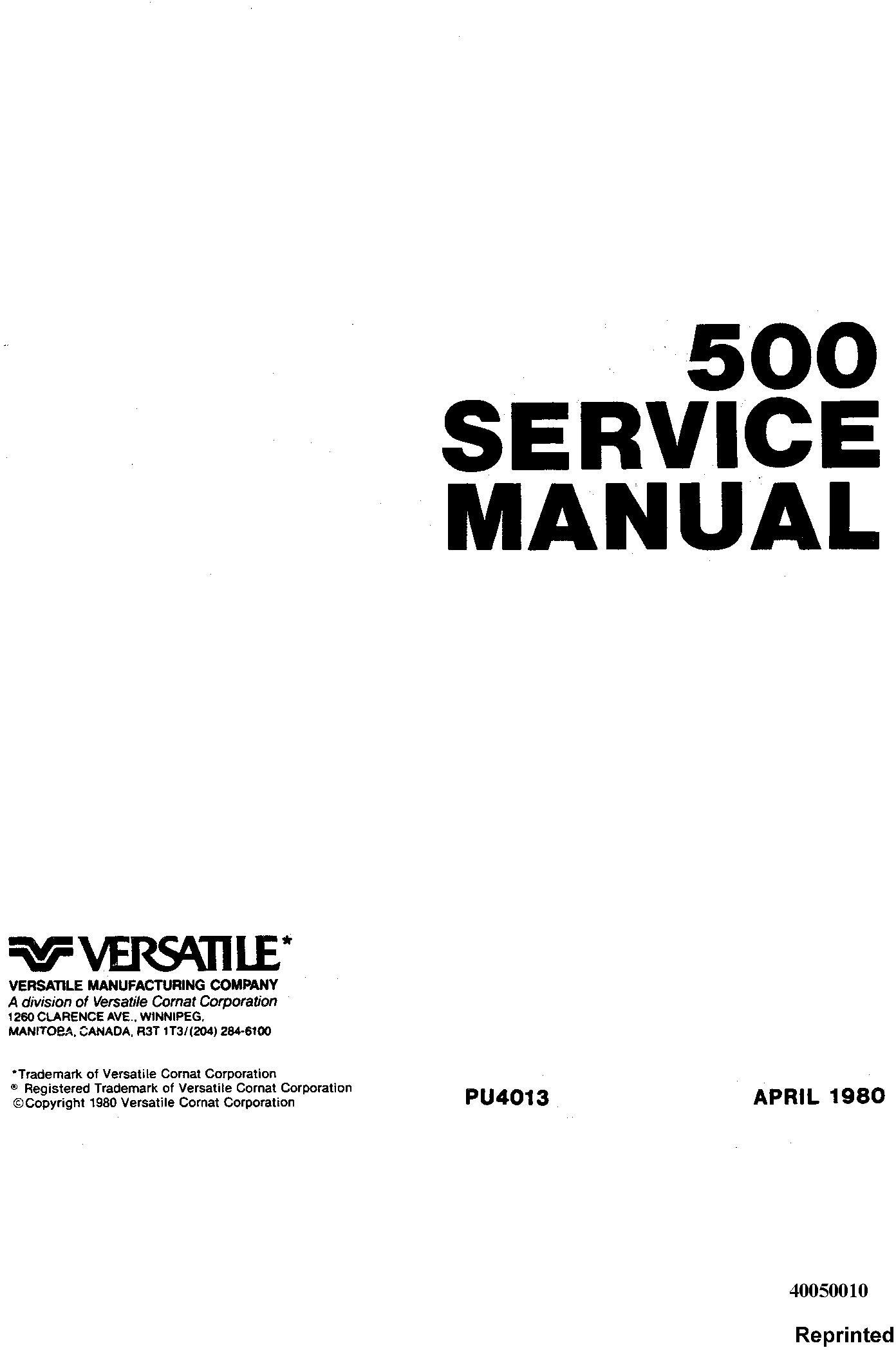 Ford Versatile 500 4WD Tractor (1977-79) Complete Service