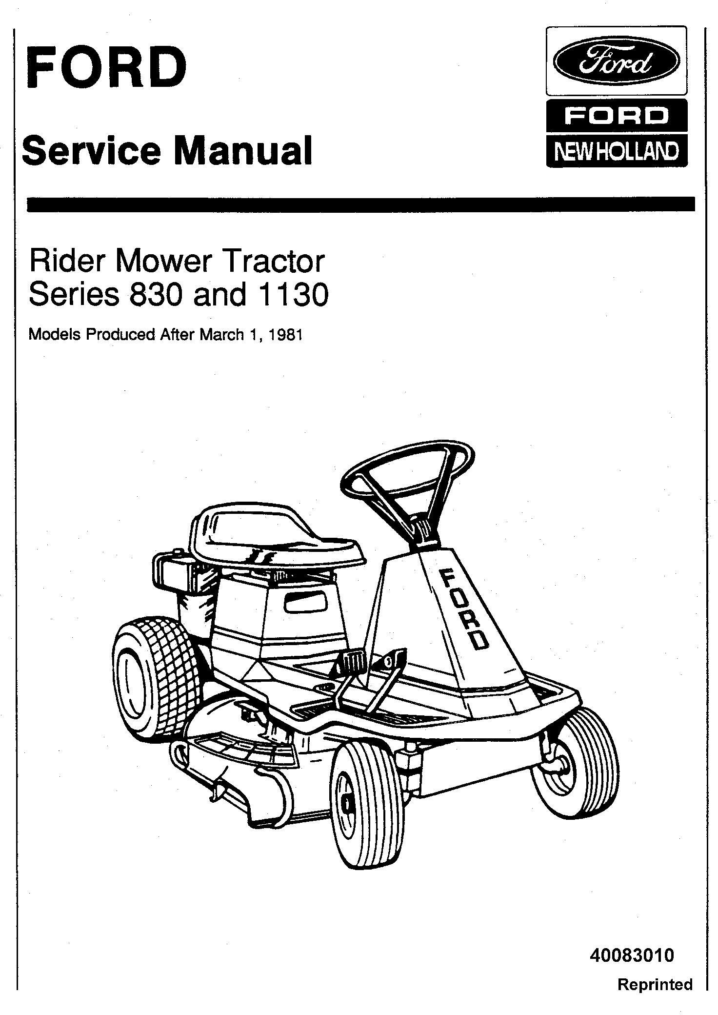 Ford 830 & 1130 Rider Mower Tractor Service Manual (SE3988
