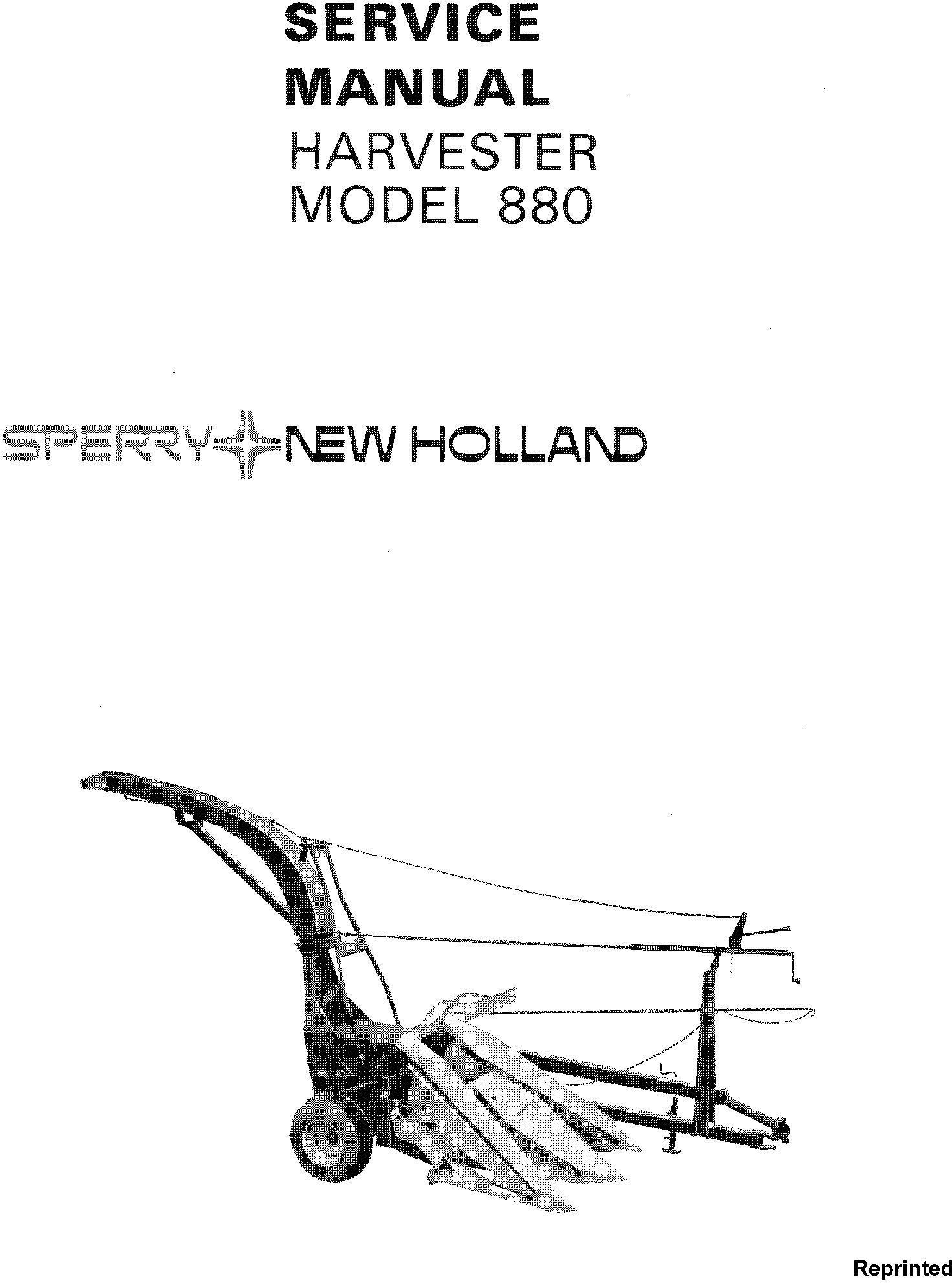 New Holland 880 Forage Harvester Service Manual / Deere
