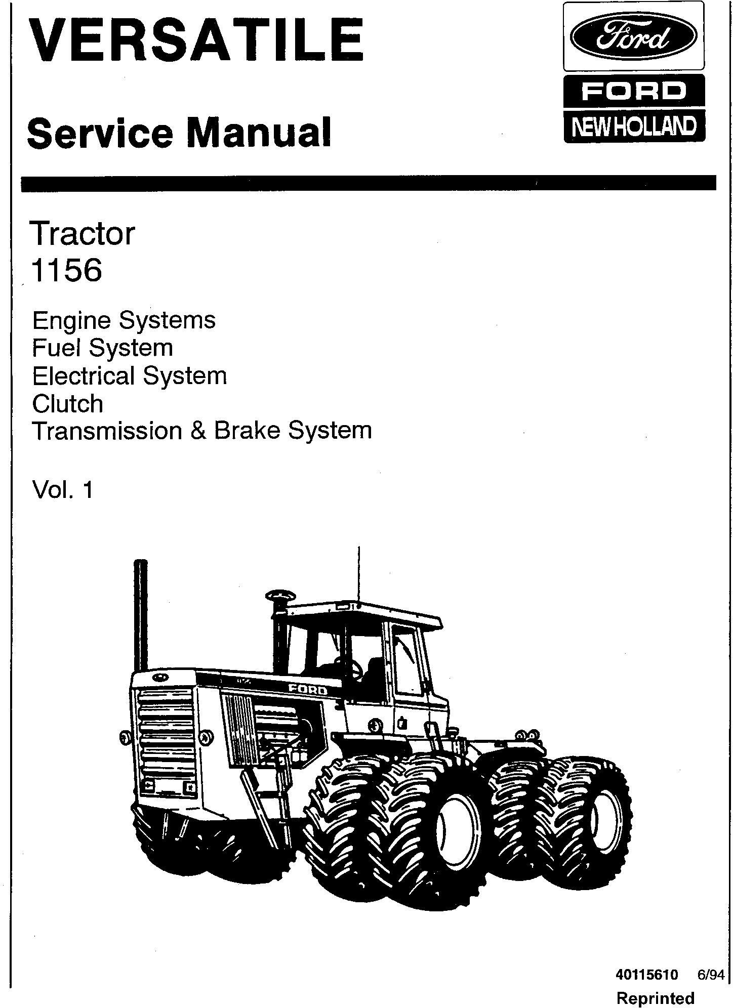 Ford Versatile 1156 Tractor Complete Service Manual