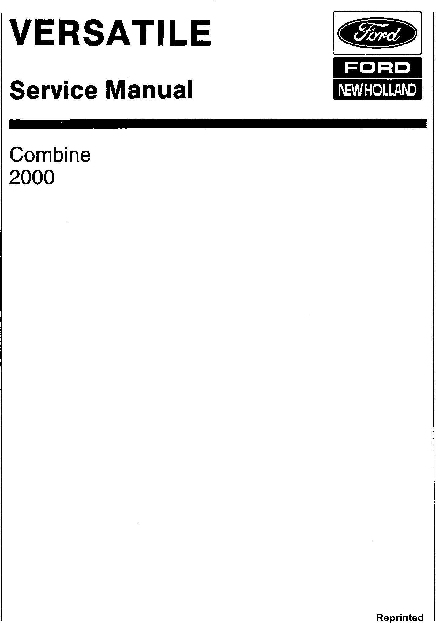 New Holland Versatile 2000 Combine (1985) Service Manual