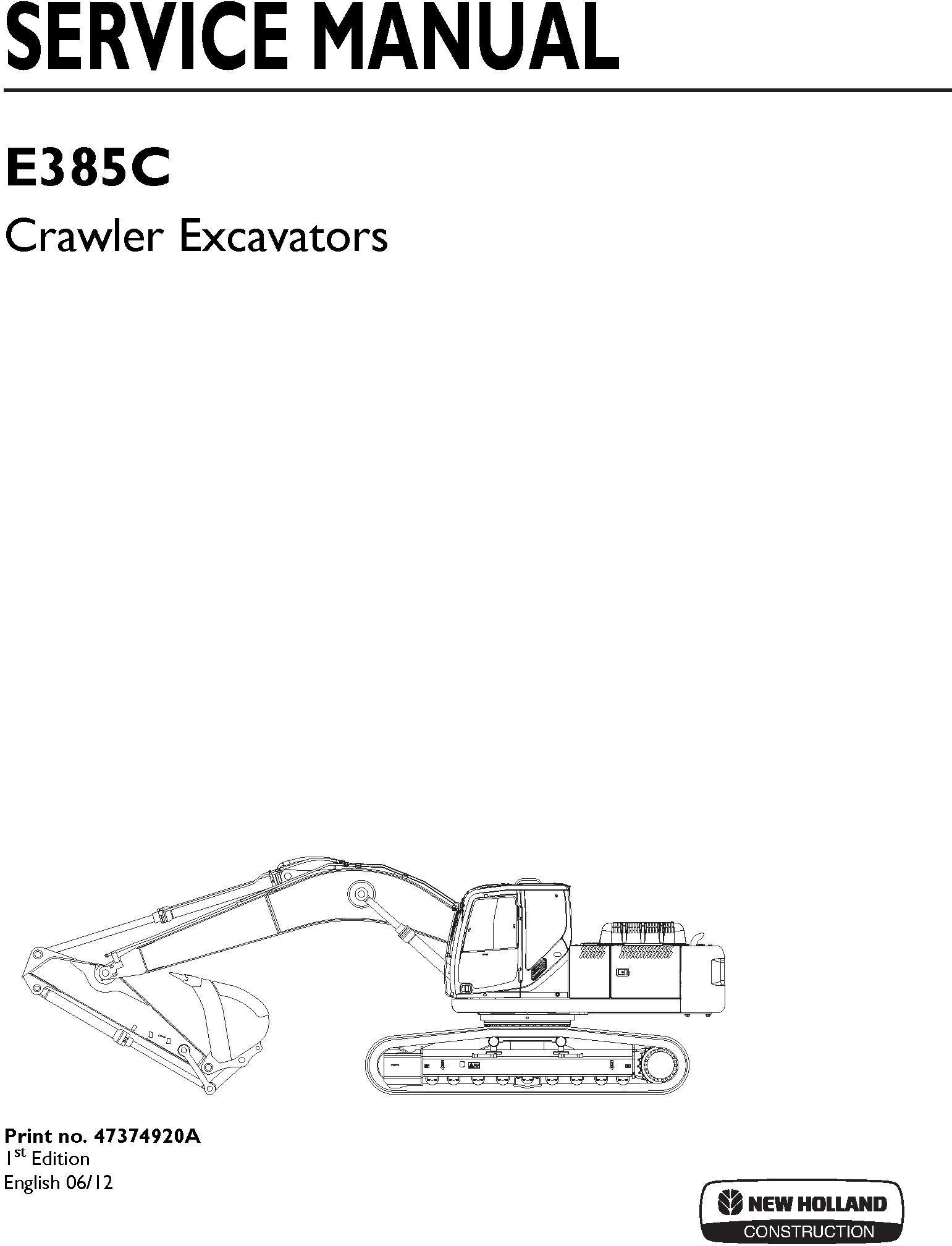 New Holland E385C Crawler Excavator Service Manual / Deere