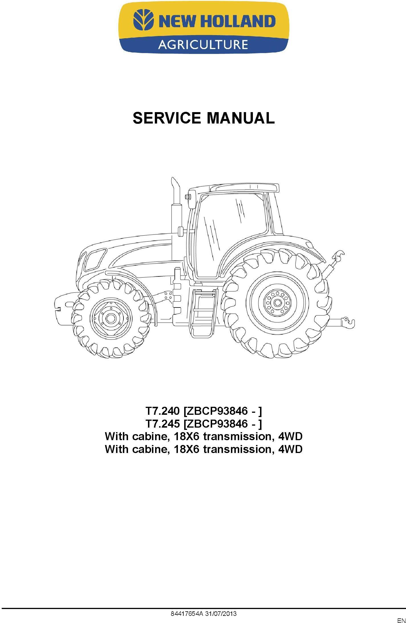 New Holland T7.240, T7.245 Brazil Built Tractors Service