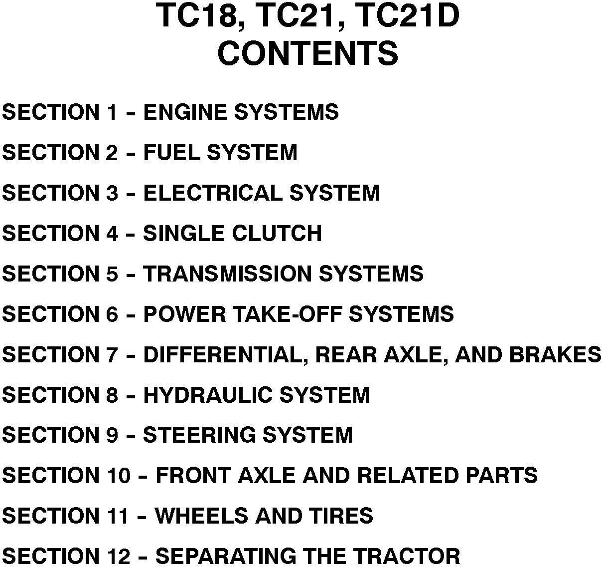New Holland TC18, TC21, TC21D Tractor Complete Service