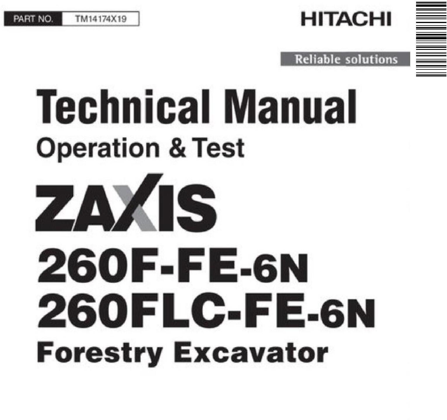 Hitachi Zaxis 260F-FE-6N, 260FLC-FE-6N Forestry Excavator