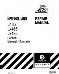 New Holland L465, LX465, LX485 Skid Steer Loader Service