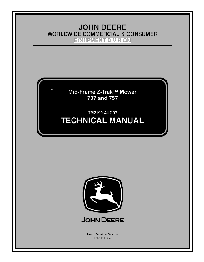 John Deere Z-Trak 737 and 757 TM2199 Mower Service Manual