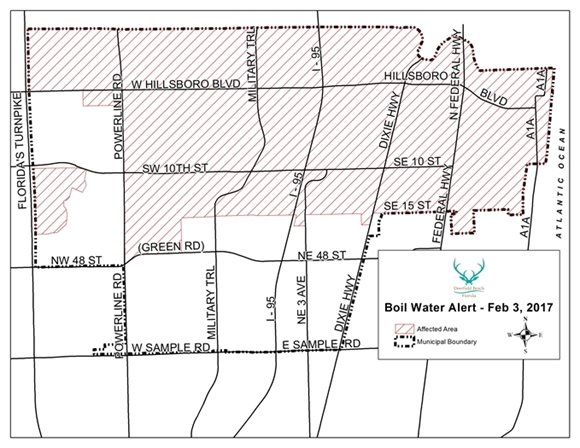 Map of Area Under Boil Water Alert
