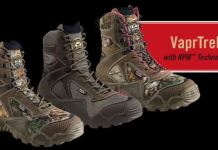 photo of the 3 color variations of the irish setter vaprtrek hunting boots