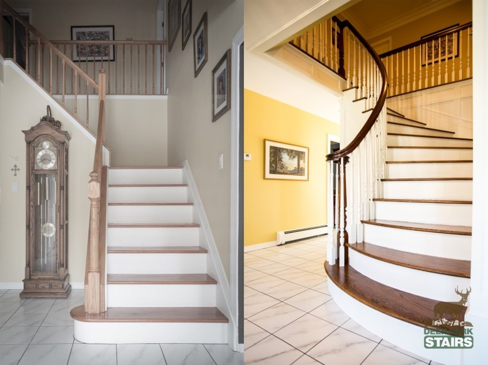 Staircase Renovation Before After Deer Park Stairs   Staircase Renovation Near Me   Flooring   Diy Staircase Makeover   Wood   Stair Case   Paint