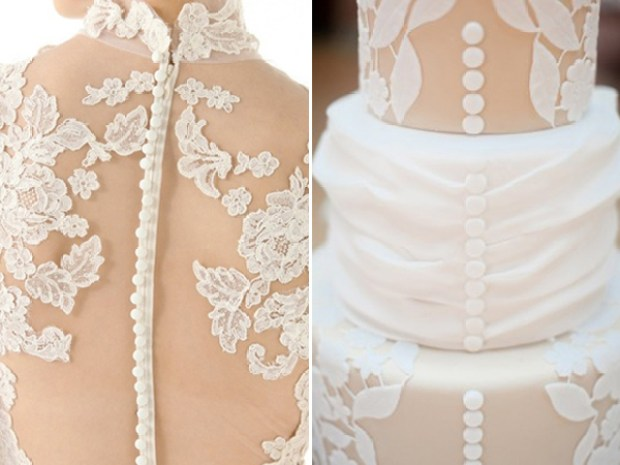 Marchesa lace gown inspired cake by Amy Berk