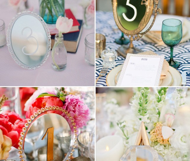 Mirrors Wedding Table Number Ideas