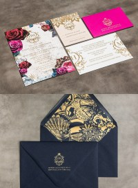 Striking Gold and Lace Wedding Invitation Kits | Deer ...