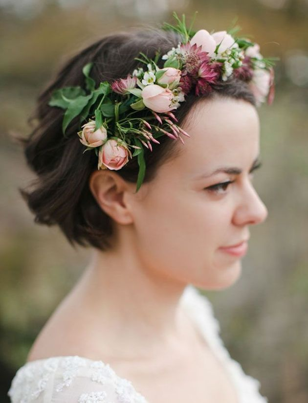 darling buds short bridal hairstyle with fresh flowers