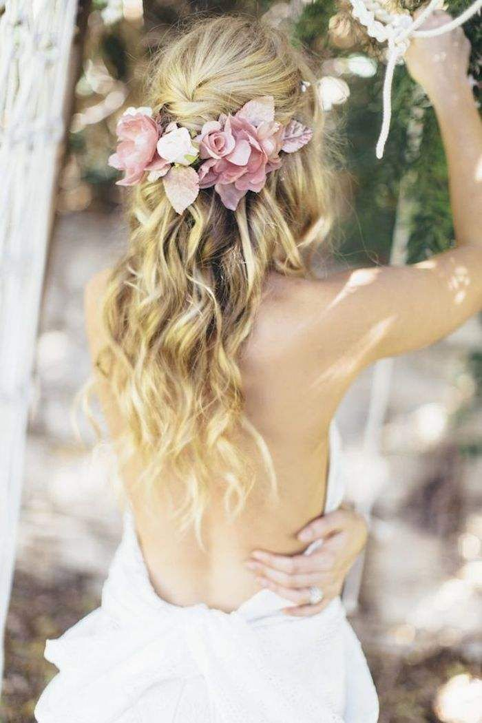 Half Up Half Down Wedding Hairstyle with Flowers