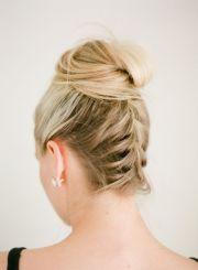 reverse-braided top bun weding