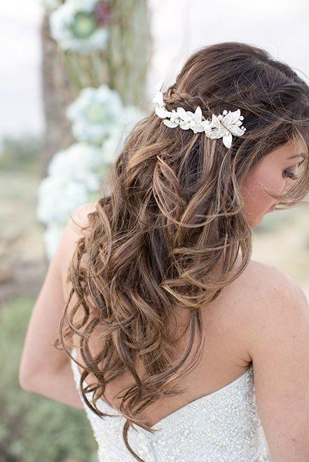 half up half down wedding hairstyle idea via Amy and