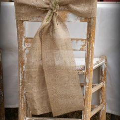 Chair Cover Decorations For Wedding Wing Back Slipcover Burlap Sash Rustic Decor Deer Pearl Flowers