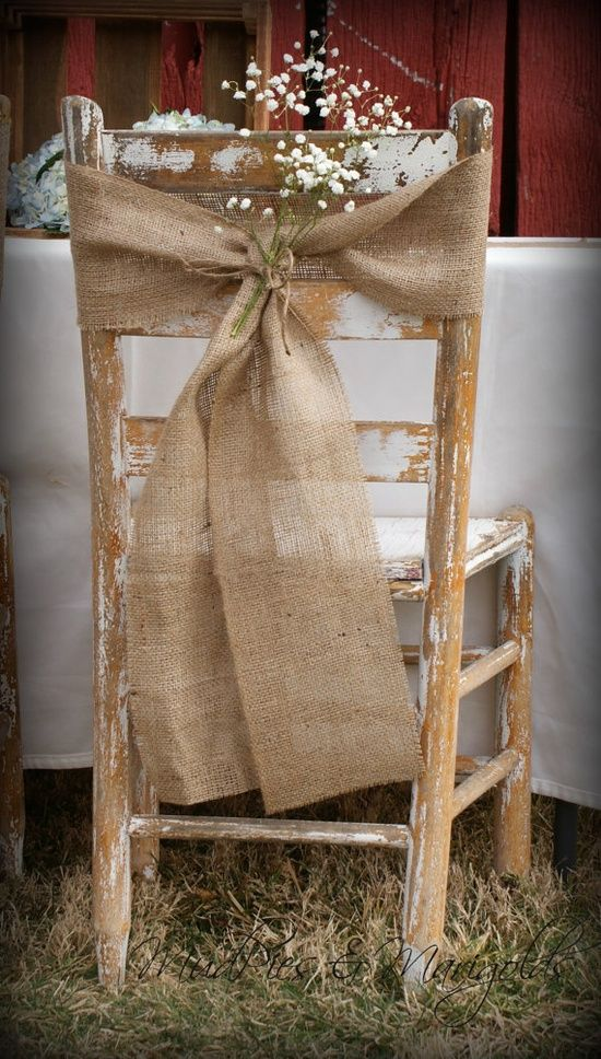 chair cover decorations for wedding mid century modern occasional chairs burlap sash rustic decor deer pearl flowers