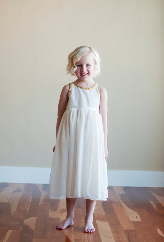 GrecianStyle Vintage Flower Girl Dress  Deer Pearl Flowers