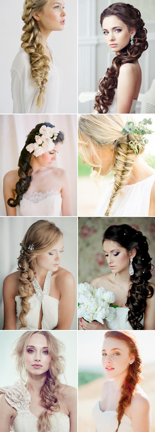 side-swept braids long wedding hairstyles | deer pearl flowers