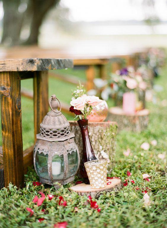 Rustic Vintage Garden Wedding Ceremony Decor Deer Pearl Flowers