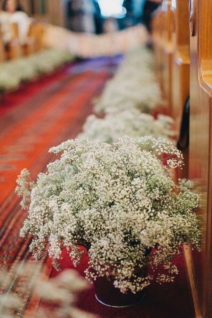 Church Wedding Baby's Breath Aisle Decor