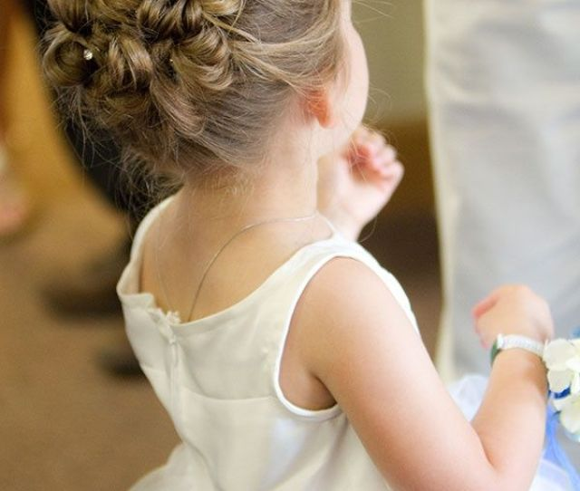 Girl Dress Bun Hairstyle With Babys Breath Crown Toddler Hair Style For Wedding