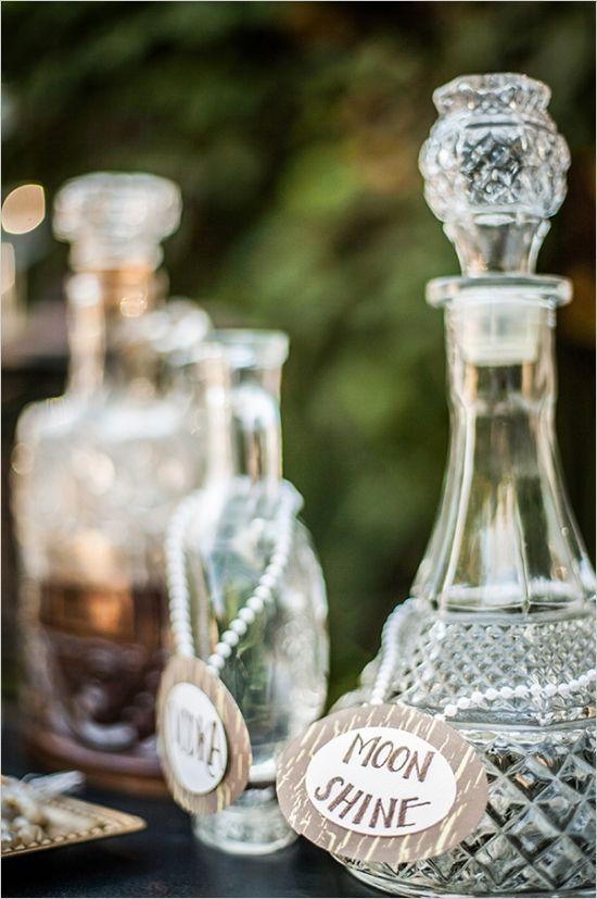 Label Vintage Bottles Wedding Decor Deer Pearl Flowers