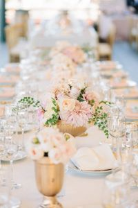 gold and blush pink dahlia wedding table ideas | Deer ...