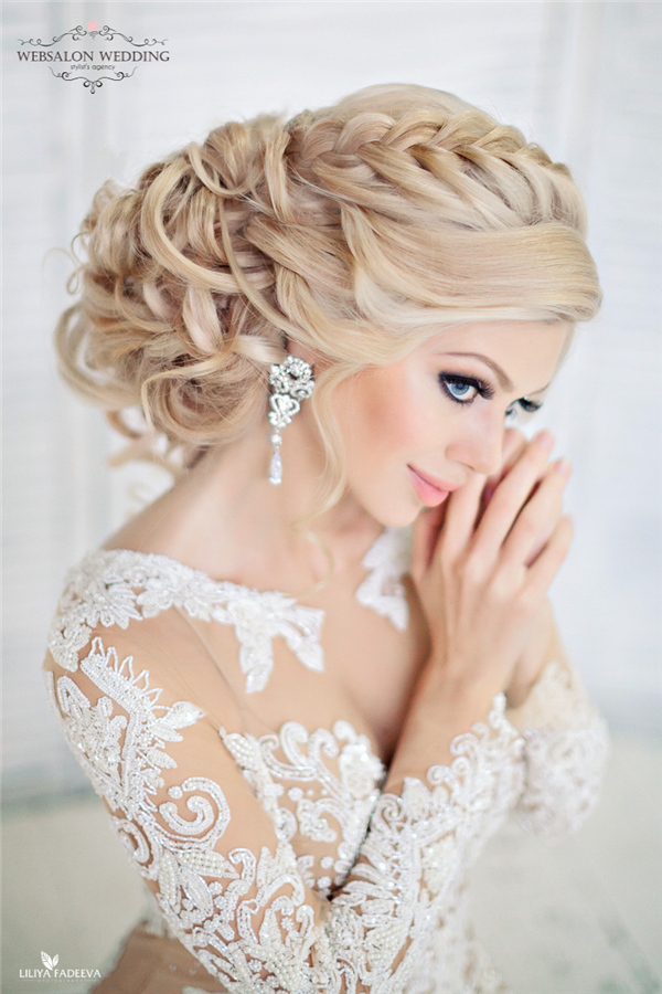 French Braided Updo Wedding Hairstyle Deer Pearl Flowers
