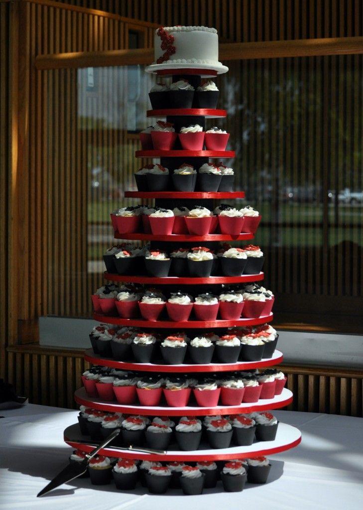 Red and Black Wedding Cupcakes  Deer Pearl Flowers