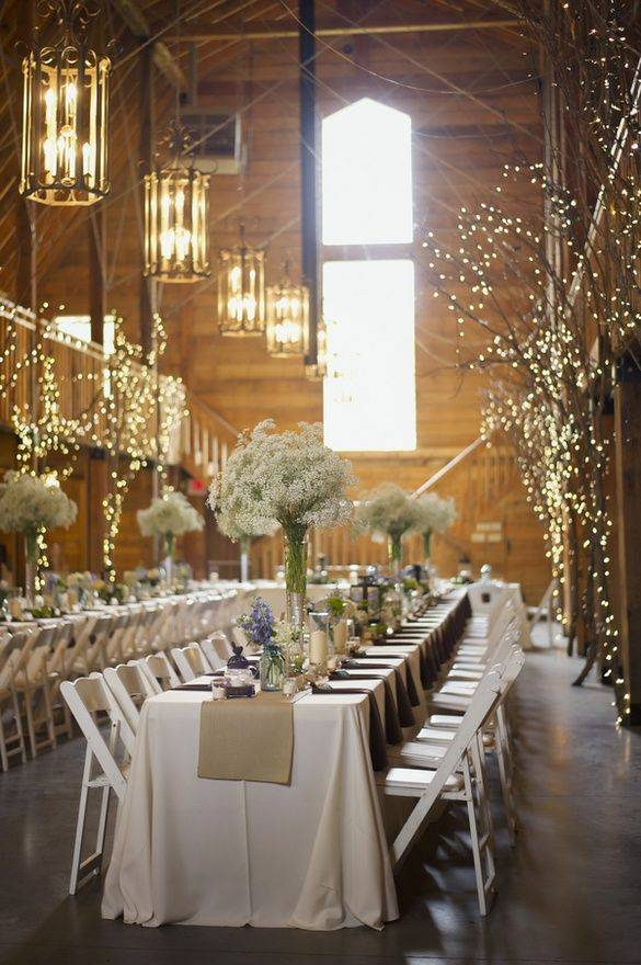 30 Romantic Indoor Barn Wedding Decor Ideas with Lights  Deer Pearl Flowers