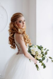 long curly wedding