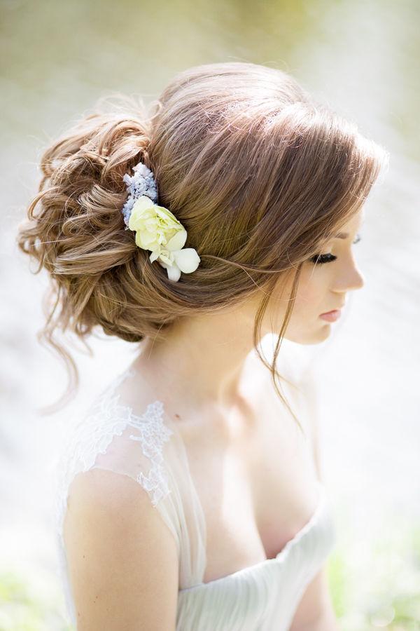 loose wedding updo for bride