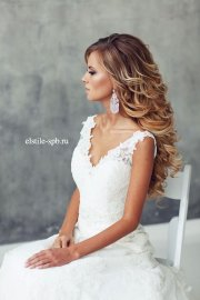 ombre long wavy wedding hairstyle