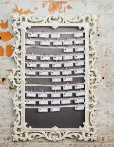 Vintage white wedding reception seating chart idea also deer pearl flowers rh deerpearlflowers