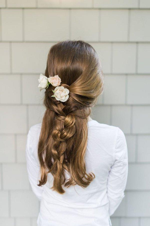 Flower Girl Braid Wedding Hairstyle Deer Pearl Flowers