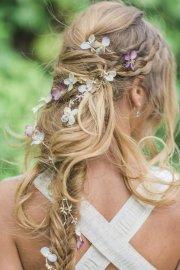 messy boho long bridal hairstyle