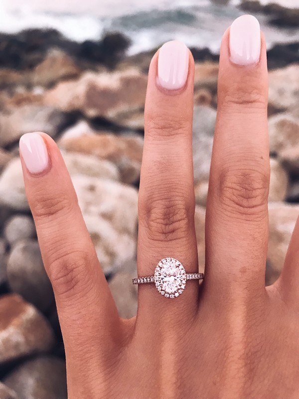 halo rose gold engagement ring