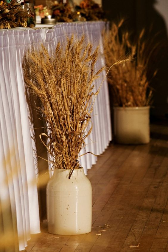 30 Fall Rustic Country Wheat Wedding Decor Ideas  Deer