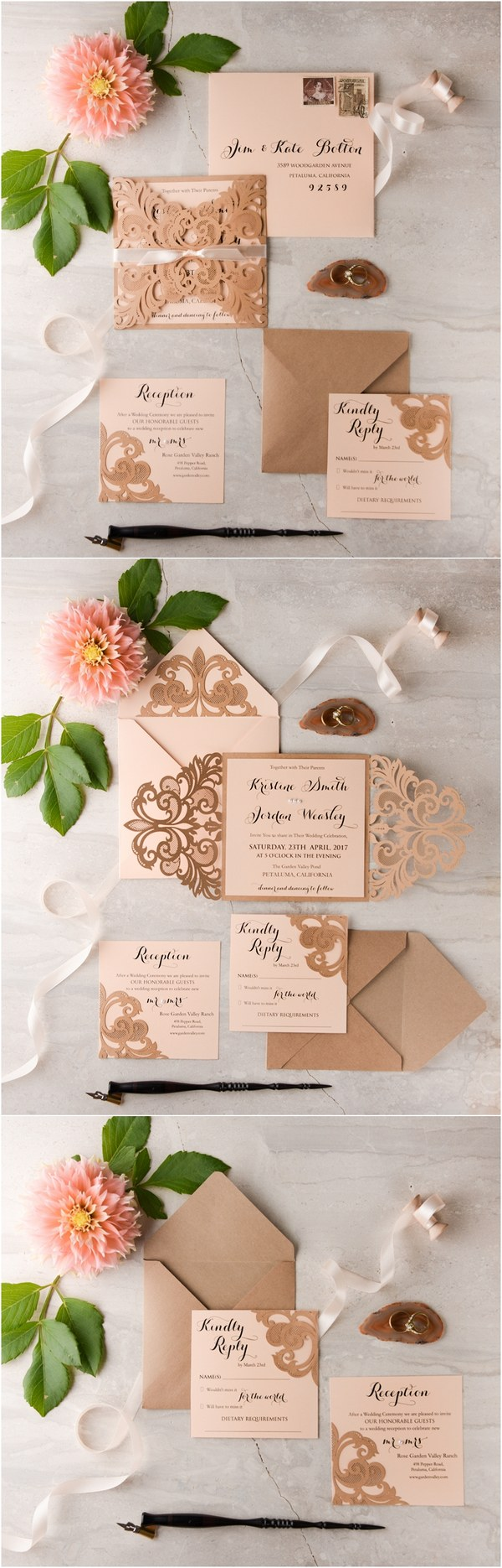 Peach Laser cut vintage wedding invitatons 01lCNz
